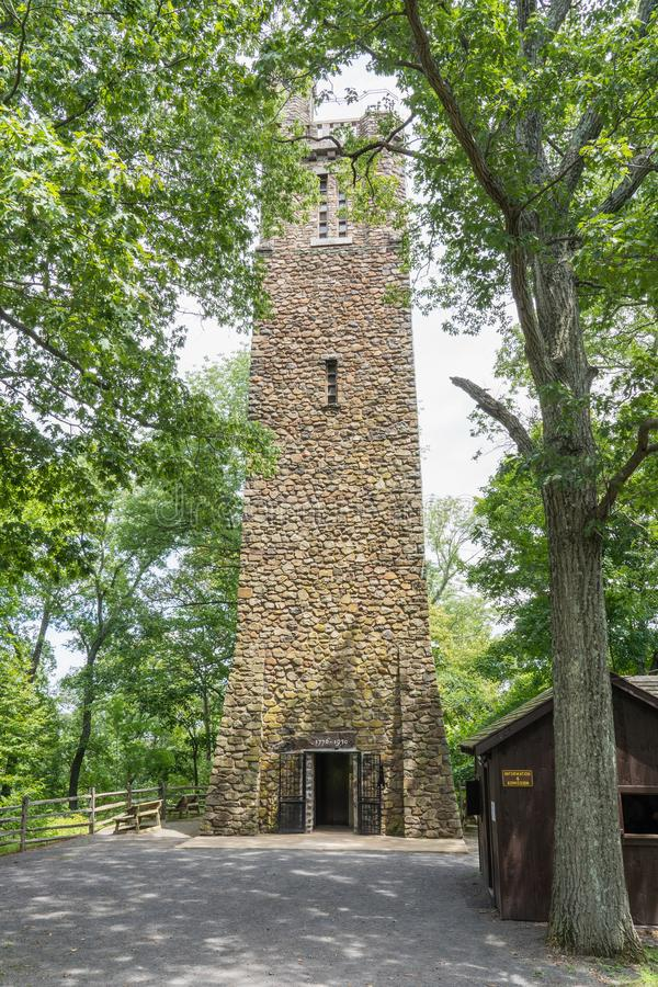 Bowman's Hill Tower i Washington Crossing, PA arkivfoton