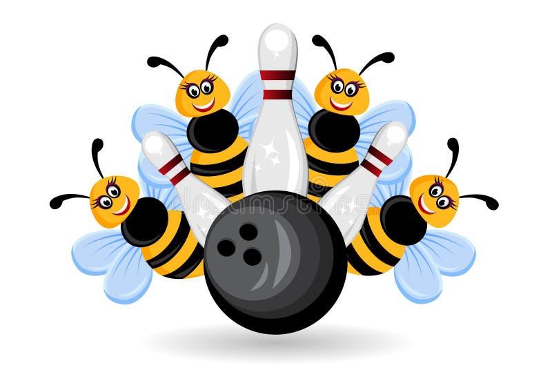 Bownling tropeça abelhas ilustração stock