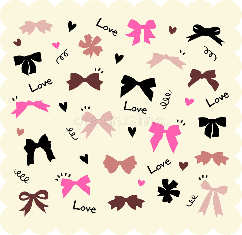 Download Bows and hearts backgroud stock vector. Illustration of cute - 8232339