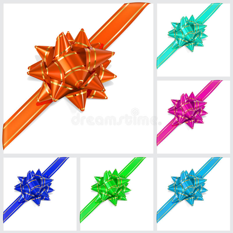 Bows Of Multicolored Ribbons. Located Diagonal Stock Vector