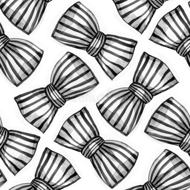 Bows of striped ribbon. Watercolor seamless pattern. vector illustration