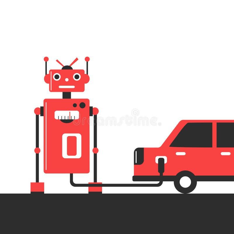 Bowser robot Tanka bilen på illustrationen för bensinstationbegreppslägenheten royaltyfri illustrationer