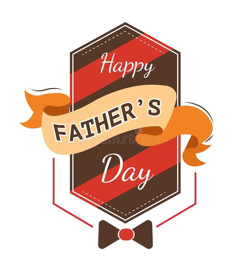 Bowtie и лента значка дня отца изолированные праздником иллюстрация вектора