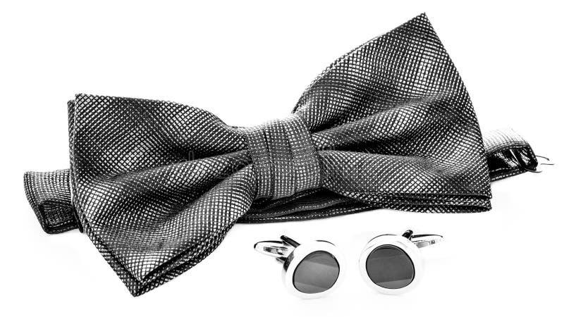Bowtie & cufflinks. Formal menswear accessories bow tie & cufflinks stock images