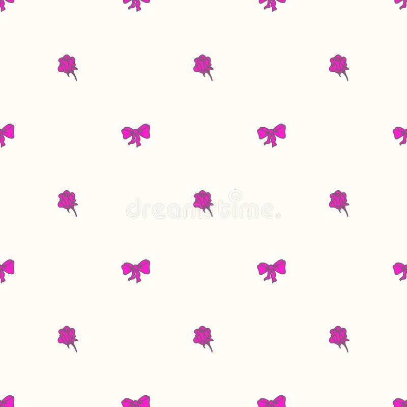 Bowtie e rosas sem emenda do teste padrão em cores pasteis ilustração royalty free