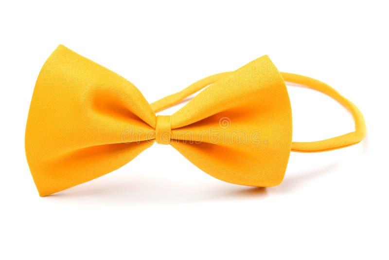 Bowtie giallo isolato su bianco fotografia stock