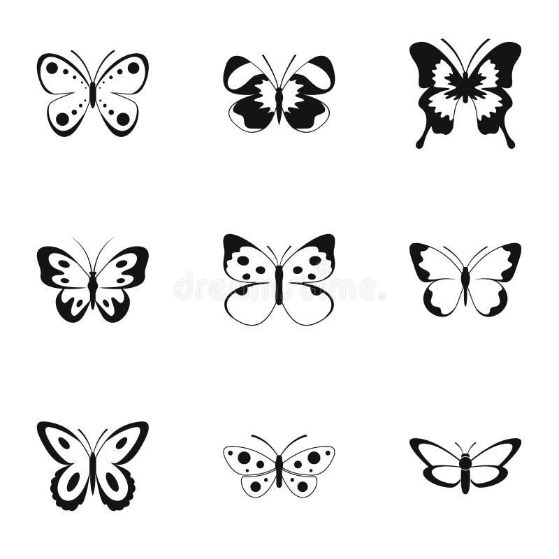 Bowtie symbolsuppsättning, enkel stil royaltyfri illustrationer
