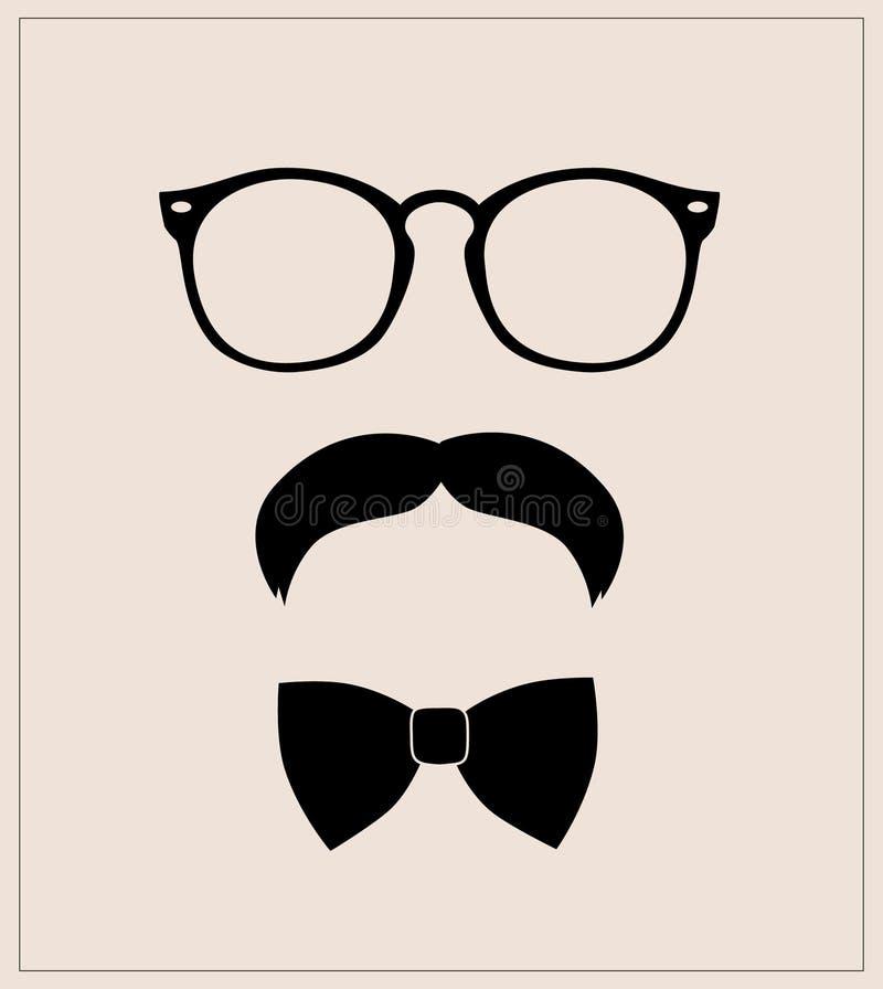 Bowtie, vidrios y bigotes determinados del estilo del inconformista fondo abstracto del ejemplo del vector libre illustration