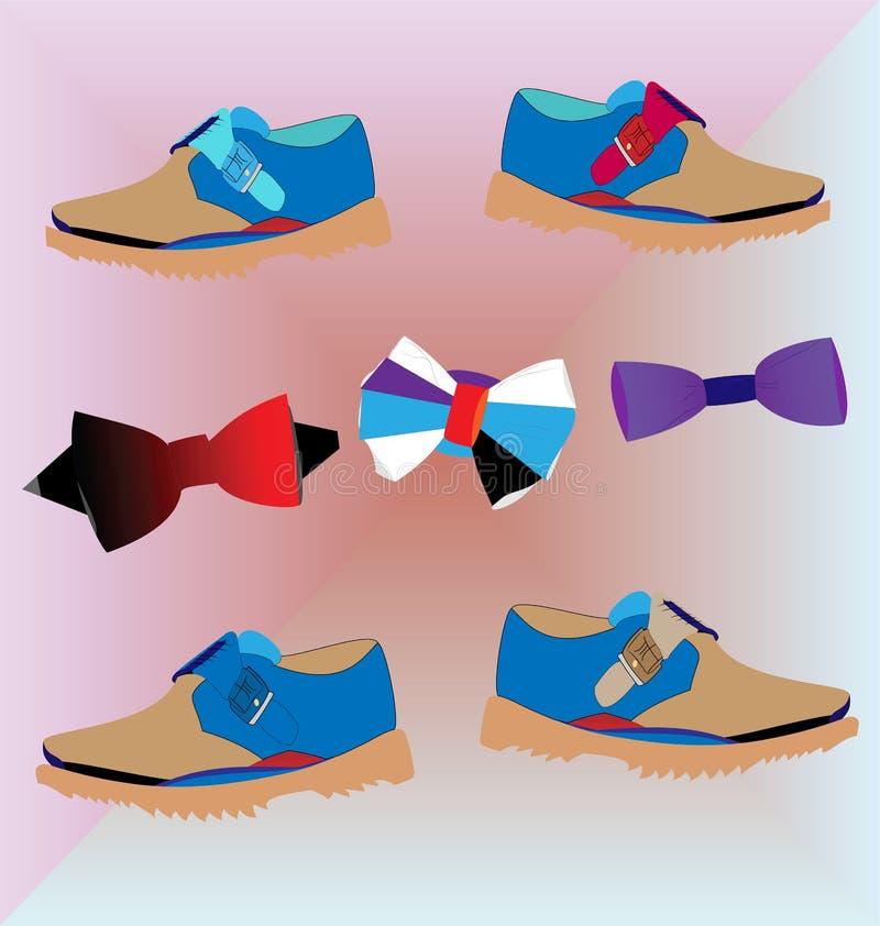 Bowties und Männer ` s lockere Schuhe stockbild