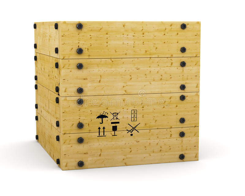Box. 3D wooden box container on white stock photo