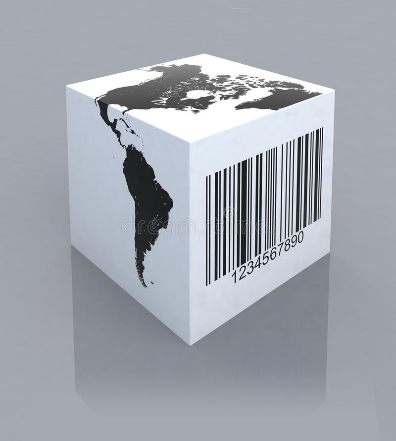Box With America Map And Barcode Royalty Free Stock Image