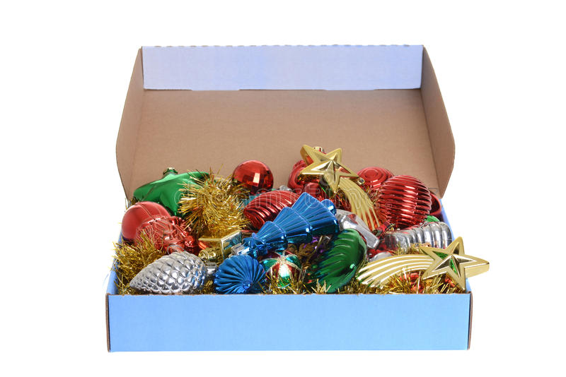 Box of antique christmas ornaments stock image