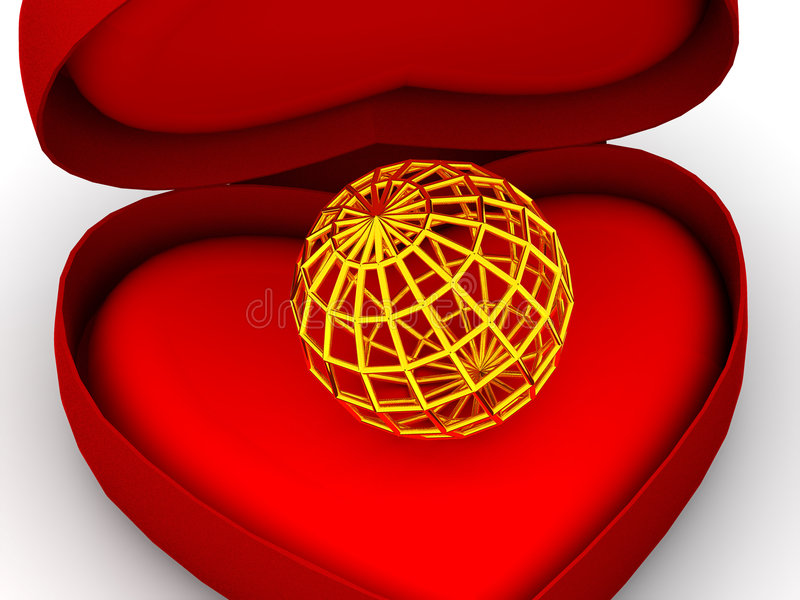 Box as heart with a globe vector illustration