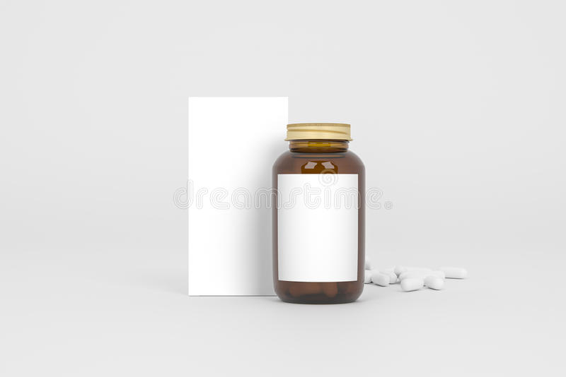 Box and bottle of pills on the gray background. Front view. 3D mockup. stock image
