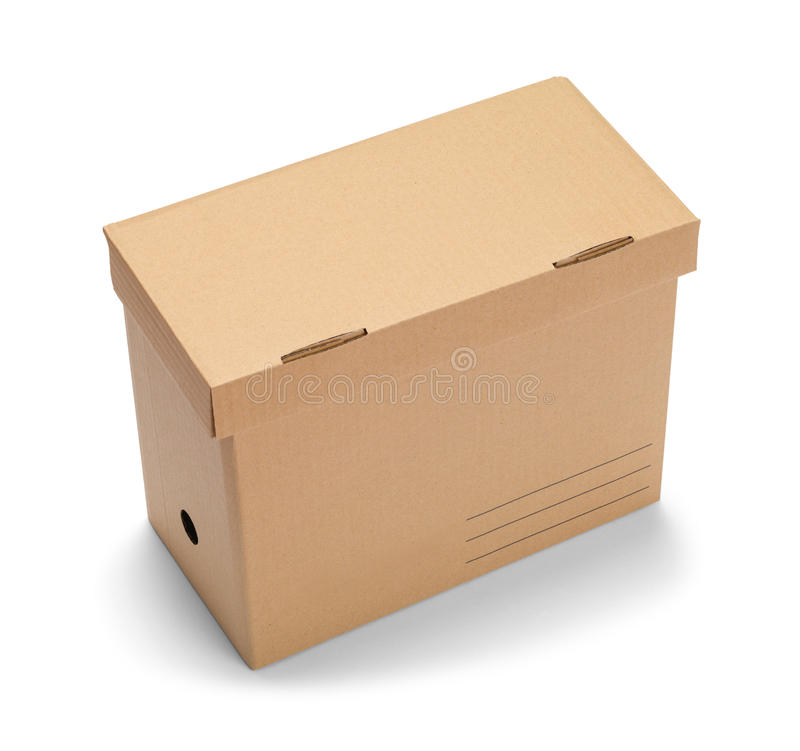 Box Brown File. Brown File Storage Box Isolated on White Background royalty free stock photography