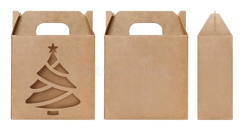 Box brown window Christmas tree shape cut out Packaging template, Empty kraft Box Cardboard isolated white background. The Box brown window Christmas tree shape stock images