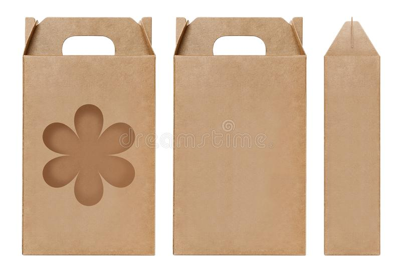 Box brown window Flower shape cut out Packaging template, Empty kraft Box Cardboard isolated white background, Boxes Paper kraft royalty free stock photography