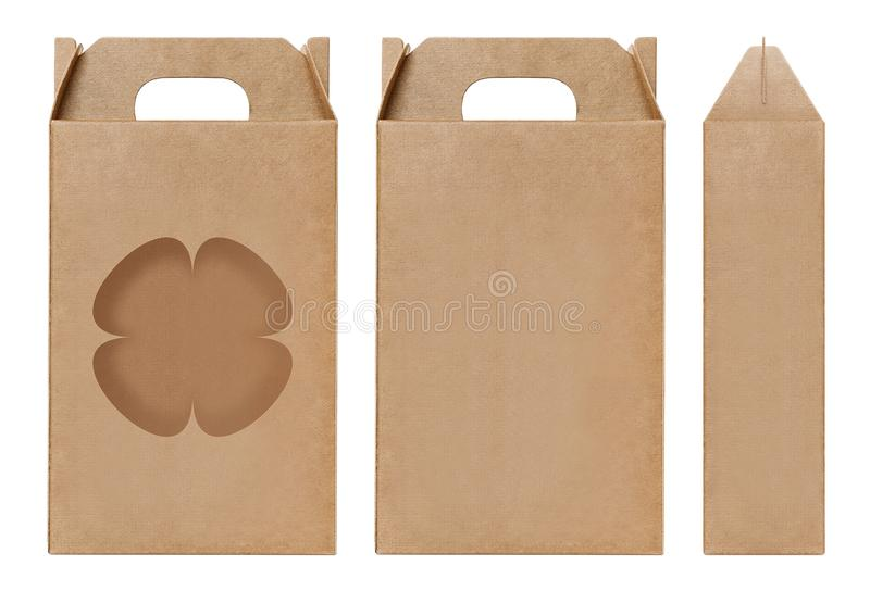Box brown window Flower shape cut out Packaging template, Empty kraft Box Cardboard isolated white background, Boxes Paper kraft stock photography