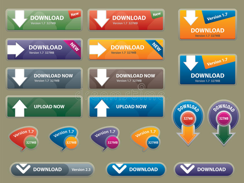 Box and buttons to interface websites. Communication box for download and buttons to interface websites royalty free illustration