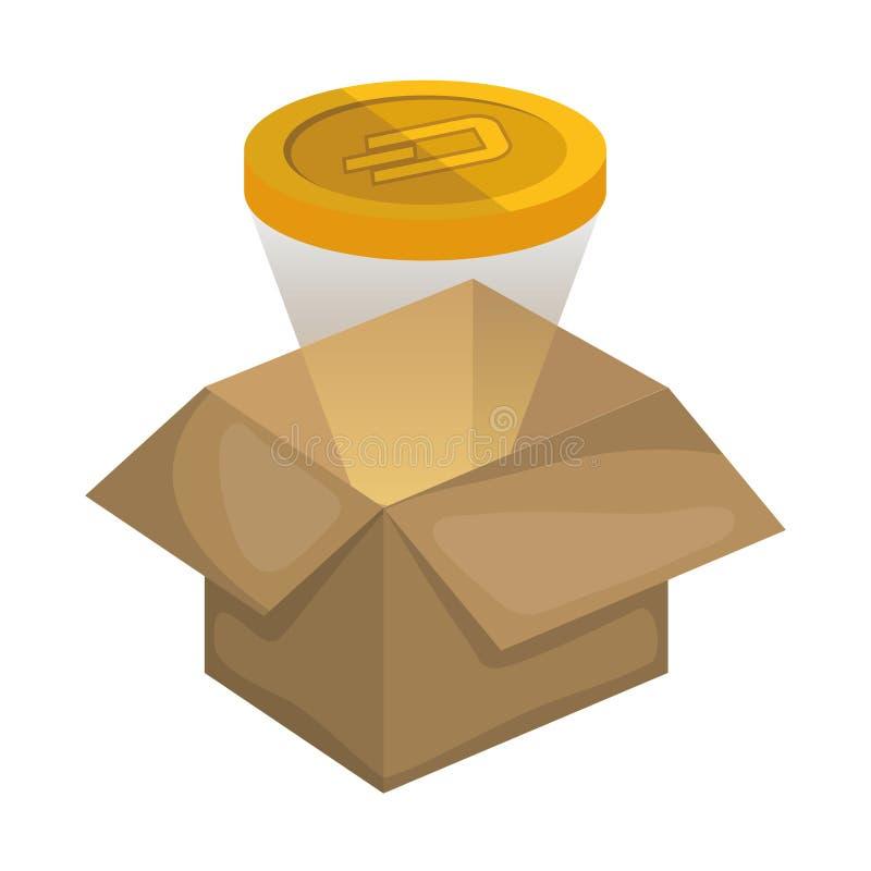 Box carton with dash. Vector illustration design stock illustration