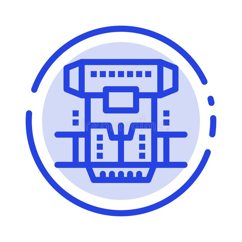Box, Chamber, Cryogenic, Cryonics, Cryotherapy Blue Dotted Line Line Icon royalty free illustration
