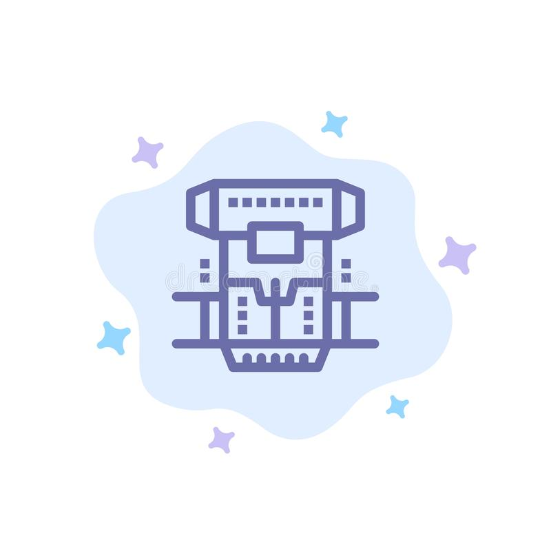 Box, Chamber, Cryogenic, Cryonics, Cryotherapy Blue Icon on Abstract Cloud Background stock illustration