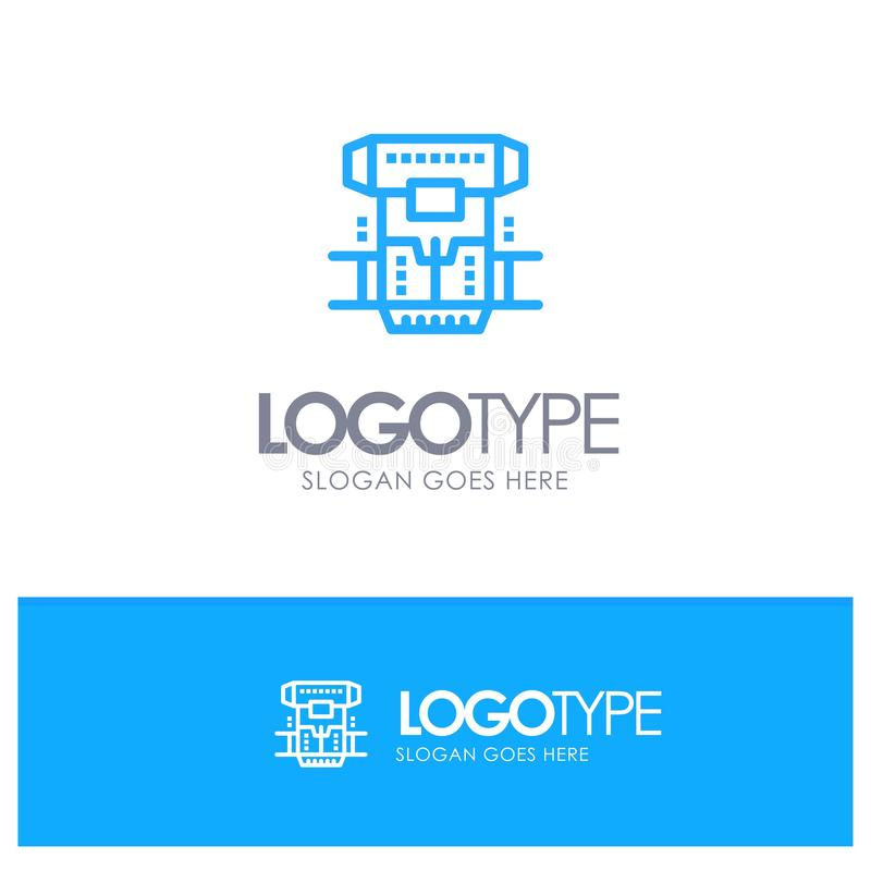 Box, Chamber, Cryogenic, Cryonics, Cryotherapy Blue outLine Logo with place for tagline vector illustration