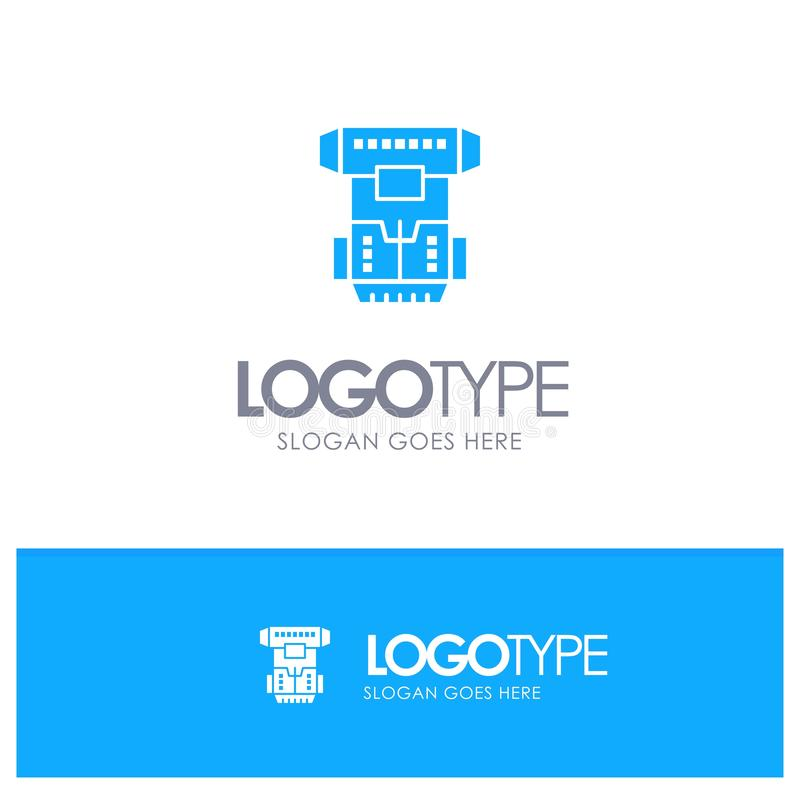 Box, Chamber, Cryogenic, Cryonics, Cryotherapy Blue Solid Logo with place for tagline vector illustration