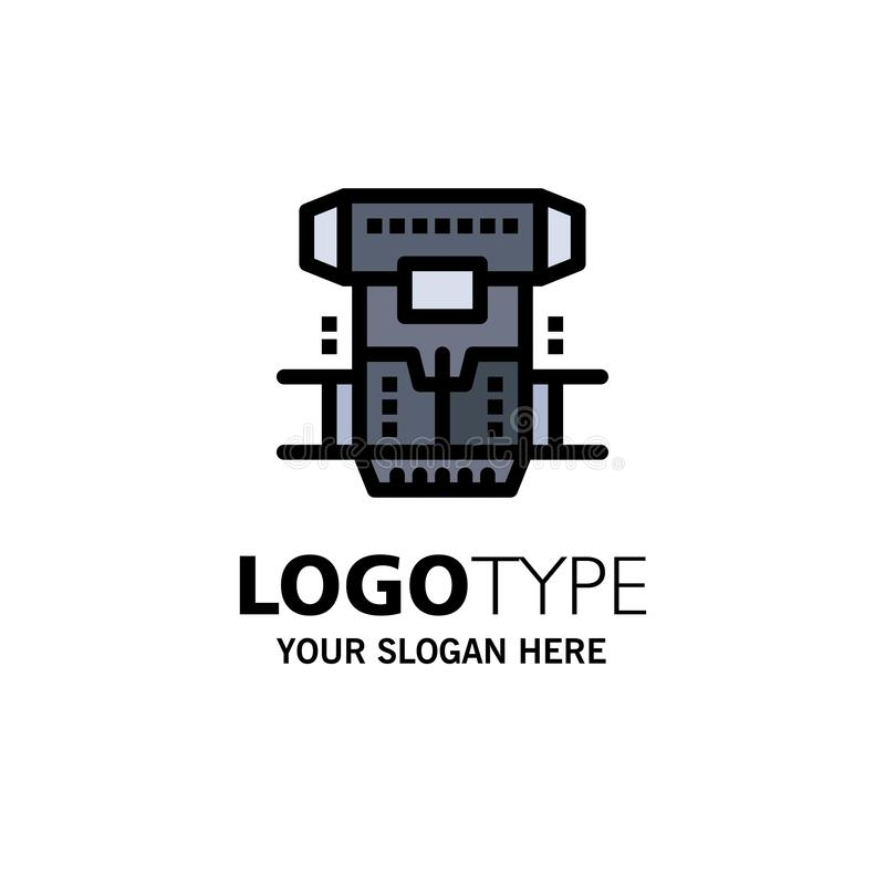 Box, Chamber, Cryogenic, Cryonics, Cryotherapy Business Logo Template. Flat Color stock illustration