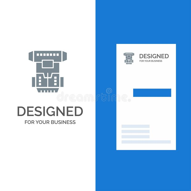 Box, Chamber, Cryogenic, Cryonics, Cryotherapy Grey Logo Design and Business Card Template vector illustration