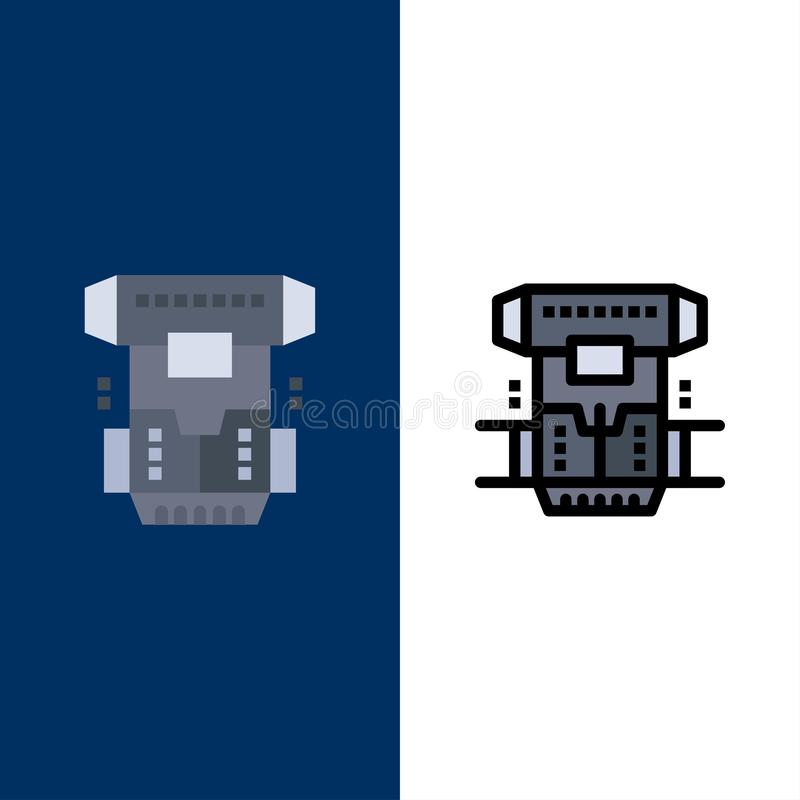 Box, Chamber, Cryogenic, Cryonics, Cryotherapy  Icons. Flat and Line Filled Icon Set Vector Blue Background royalty free illustration