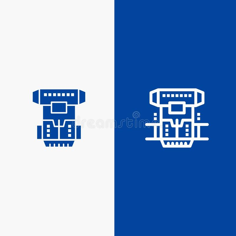 Box, Chamber, Cryogenic, Cryonics, Cryotherapy Line and Glyph Solid icon Blue banner Line and Glyph Solid icon Blue banner vector illustration