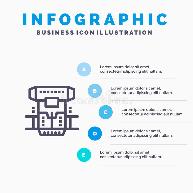Box, Chamber, Cryogenic, Cryonics, Cryotherapy Line icon with 5 steps presentation infographics Background vector illustration