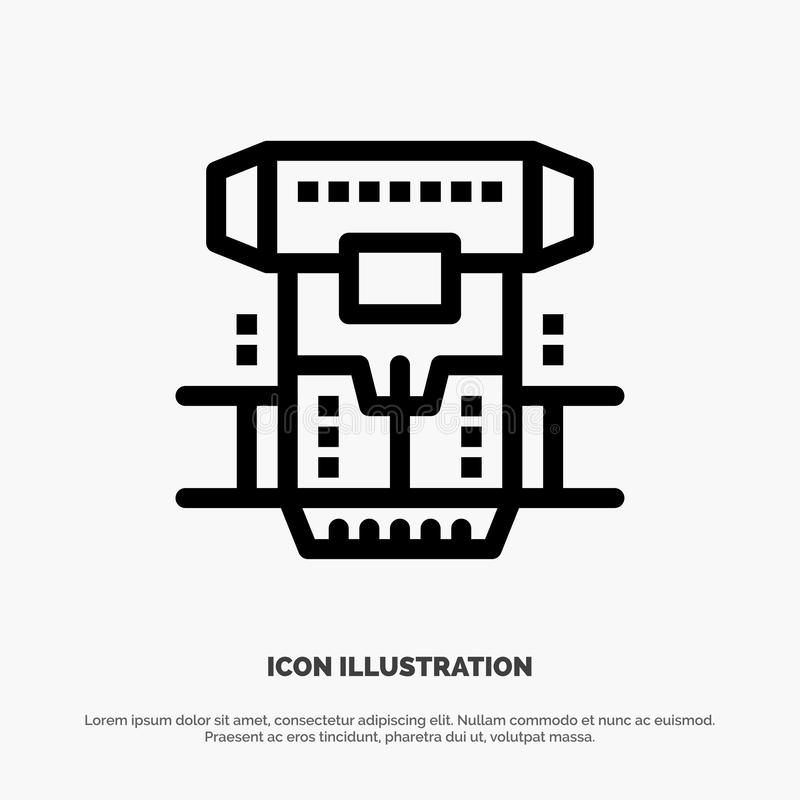 Box, Chamber, Cryogenic, Cryonics, Cryotherapy Line Icon Vector vector illustration