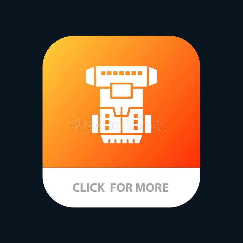 Box, Chamber, Cryogenic, Cryonics, Cryotherapy Mobile App Button. Android and IOS Glyph Version royalty free illustration