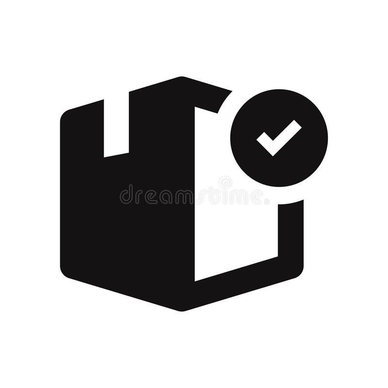 Box with checked vector icon. Isolated on white background. Modern and simple flat symbol for web site, mobile, logo, app, UI. Sign in trendy design style stock illustration