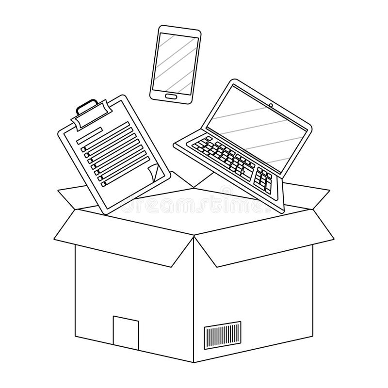 Box with checklist in black and white vector illustration