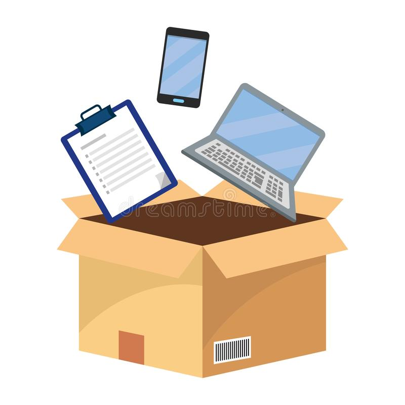 Box with checklist stock illustration