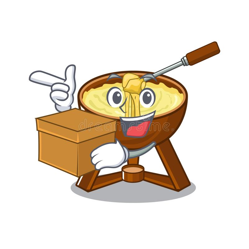 With box cheese fondue with in mascot shape. Vector illustration stock illustration