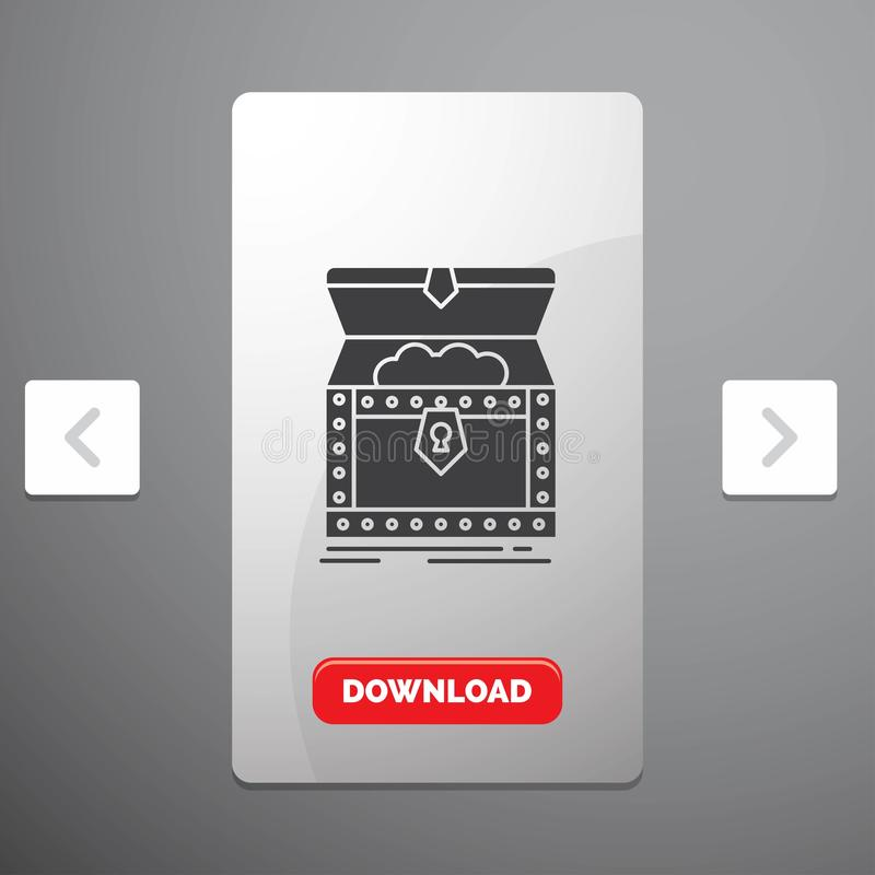 Box, chest, gold, reward, treasure Glyph Icon in Carousal Pagination Slider Design & Red Download Button. Vector EPS10 Abstract Template background stock illustration