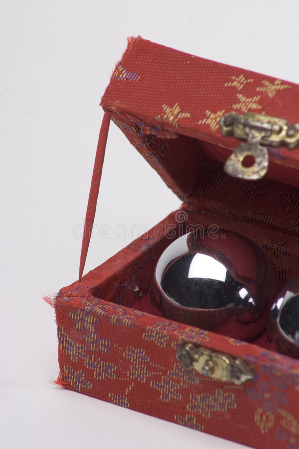 Box of chinese ball. Open box of chinese healing ball royalty free stock photos