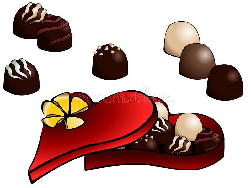 Box of chocolate truffles. Comic-style vector of a heart-shaped box of truffles. Graphics are grouped and in several layers for easy editing. The file can be stock illustration