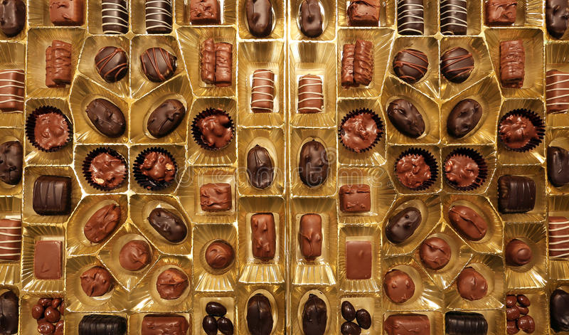 Box of Chocolates. A close up view of a box of chocolates royalty free stock image