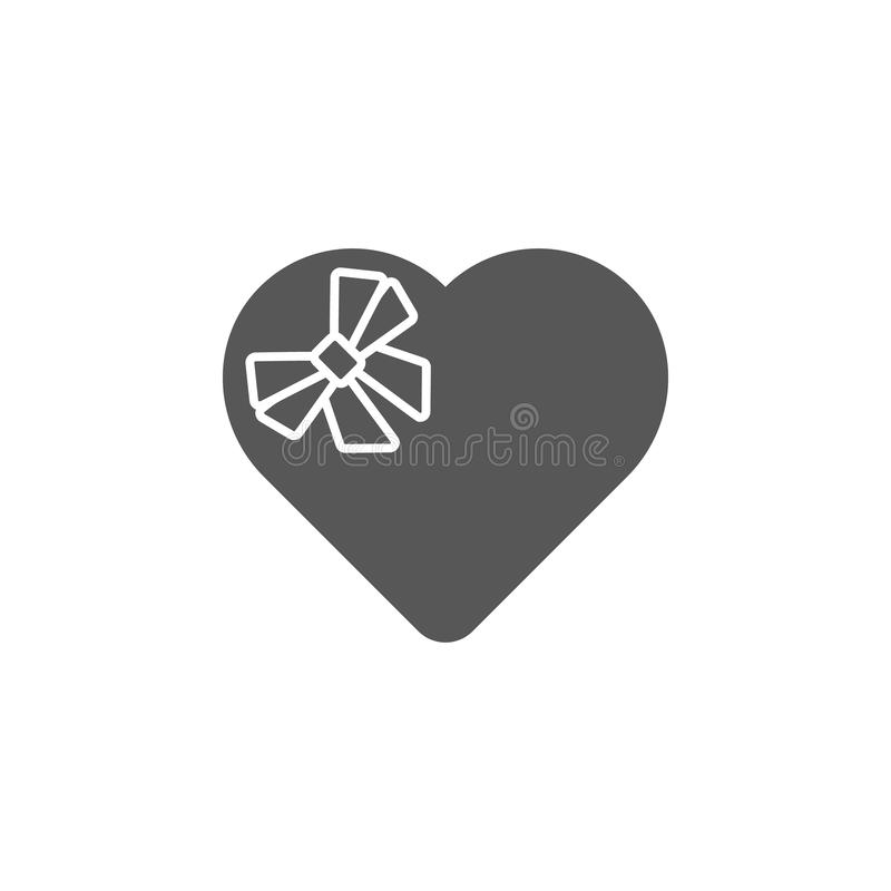 Box of chocolates, heart, gift icon. Simple glyph, flat vector of valentines day, love icons for UI and UX, website or mobile royalty free illustration
