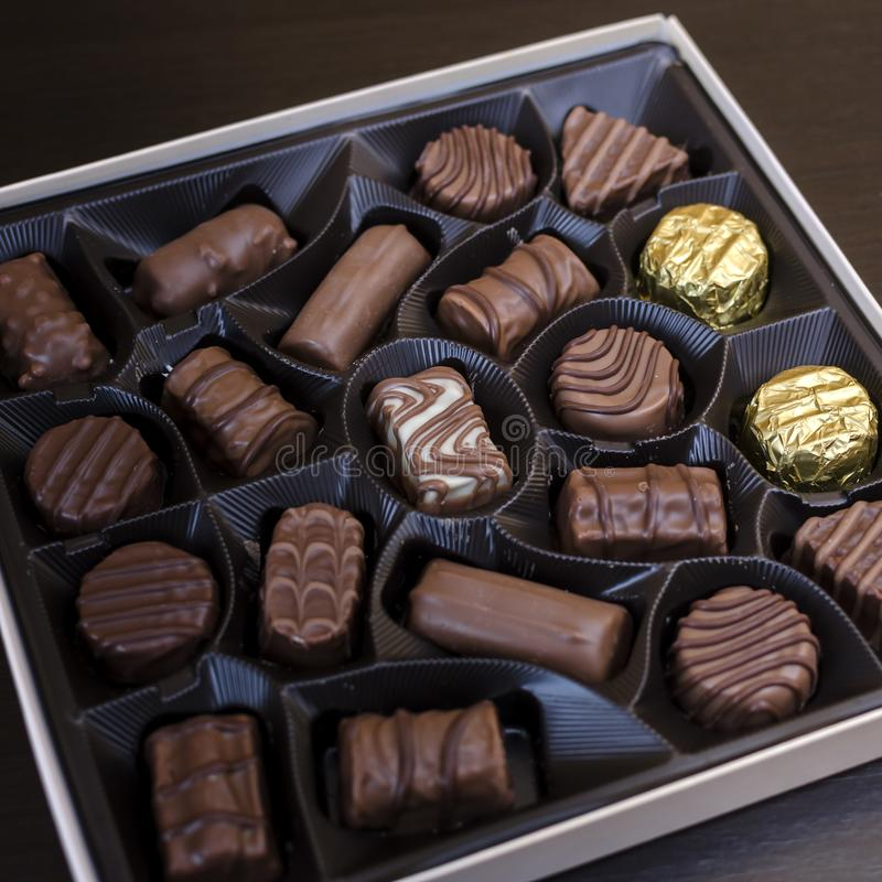 Box of chocolates on table. Close up stock image