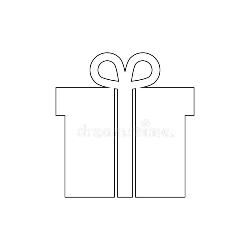 Box christmas gift package present outline icon. Signs and symbols can be used for web, logo, mobile app, UI, UX royalty free illustration