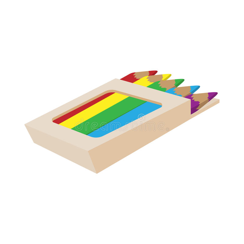 Box of colored pencils icon, cartoon style royalty free illustration