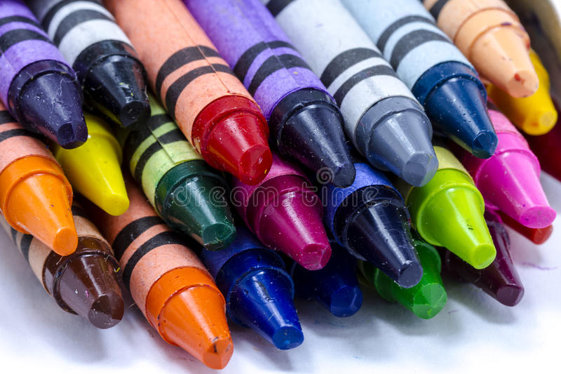 Box of Colorful Crayons stock photo