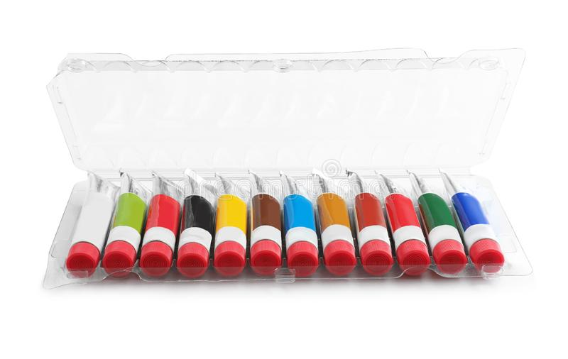 Box with colorful paints on white background royalty free stock photo