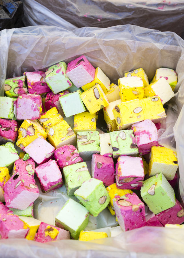 Box of colorful sweets in French market royalty free stock photos